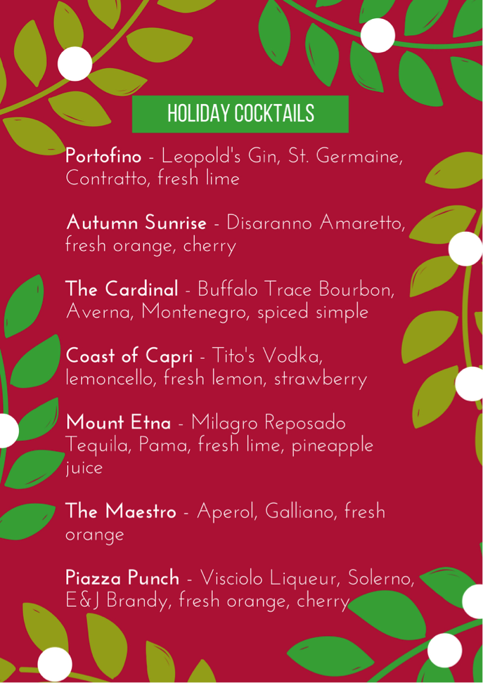 The 2016 Holiday Cocktail Collection at Carmine's on Penn
